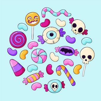 Коллекция рисованной конфет хэллоуин