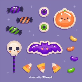 Hand drawn halloween candy stickers collection