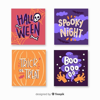 Hand drawn halloween card collection with spooky night quotes