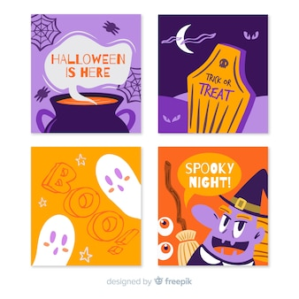 Hand drawn halloween card collection with variety of symbols