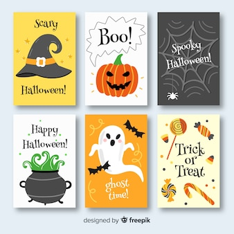 Hand drawn halloween card collection