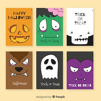 Hand drawn halloween card template collection
