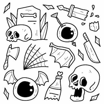 손으로 그린 할로윈 만화 낙서 디자인