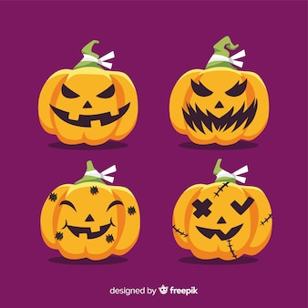 Hand drawn halloween carved pumpkin collection