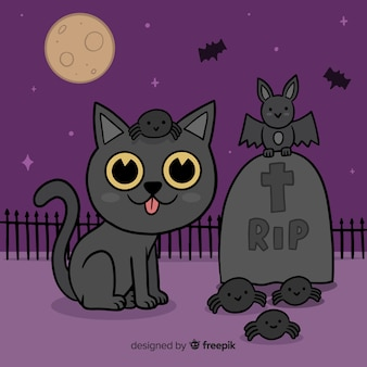 Hand drawn halloween cat in cemetery
