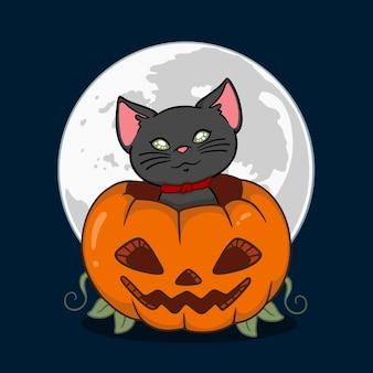 Нарисованная рукой концепция кошки хэллоуина