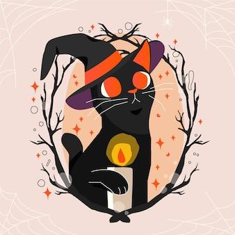 Нарисованная рукой иллюстрация кошки хэллоуина