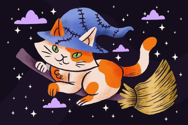 Hand drawn halloween cat illustration