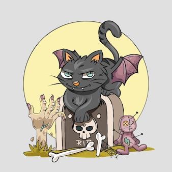 手描きハロウィン猫イラスト