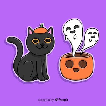 Hand drawn halloween cat and pumpkin with ghosts