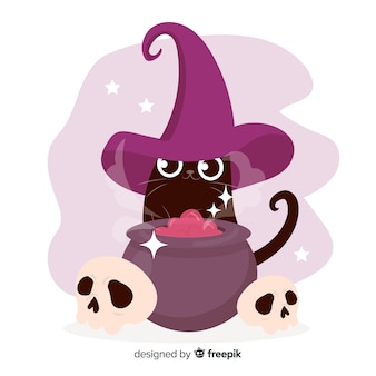 Hand drawn halloween cat and witch pot