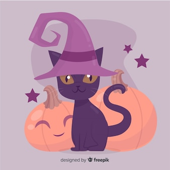 Hand drawn halloween cat with witch hat
