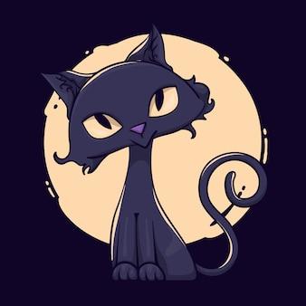 Gatto di halloween disegnato a mano