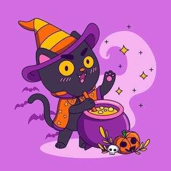 Hand drawn halloween cat