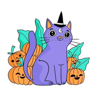 손으로 그린 할로윈 고양이