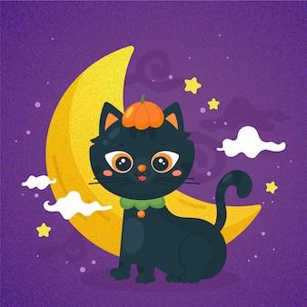 手描きのハロウィン猫