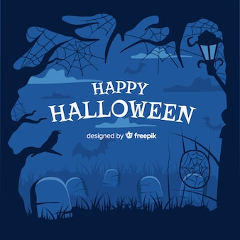 Hand drawn halloween cemetery frame