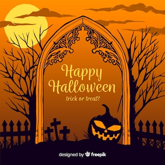 Нарисованная рукой рамка ворот кладбища хеллоуина
