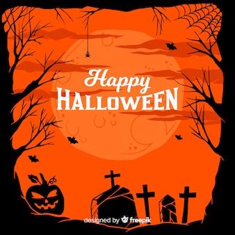 Hand drawn halloween cemetery landscape frame