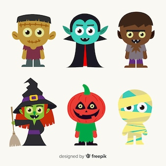 Hand drawn halloween character collection for children