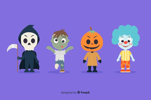 Hand drawn halloween character collection
