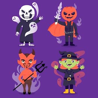 Коллекция рисованной персонажей хэллоуина