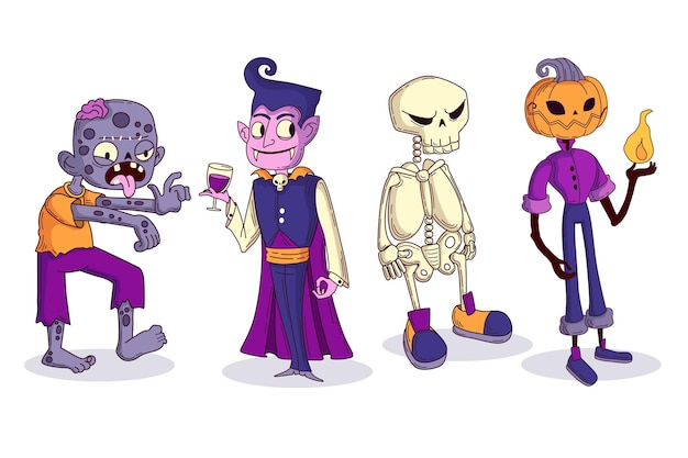 Hand drawn halloween characters collection