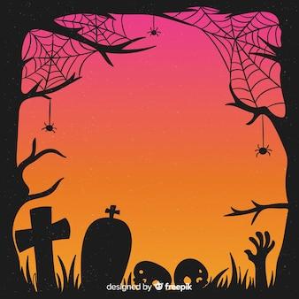 手描きハロウィーンクモの巣と墓石フレーム