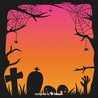 Hand drawn halloween cobweb and tombstones frame