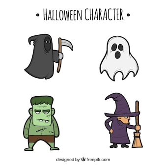 Hand-drawn halloween collection of typical characters