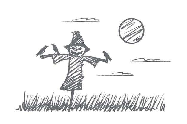 손으로 그린 할로윈 개념 스케치