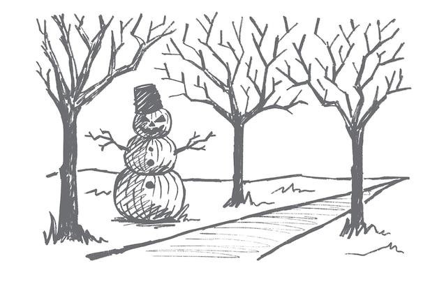 手描きのハロウィーンのコンセプトスケッチ