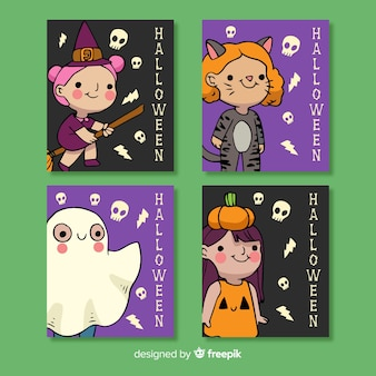 Hand drawn halloween costume card collection
