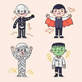 Hand drawn halloween costumes collection