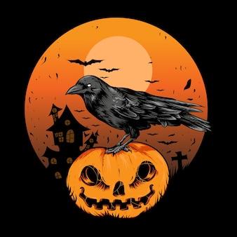 Hand drawn halloween crow and pumpkin illustration