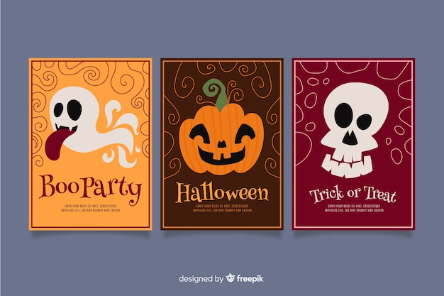 Hand drawn halloween cute card collection