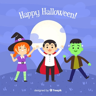Hand drawn halloween cute characters background