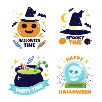 Hand drawn halloween cute labels