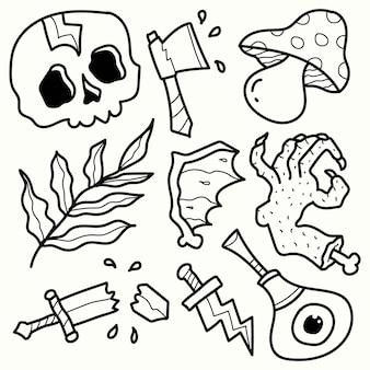手描きハロウィーン落書き漫画着色デザイン