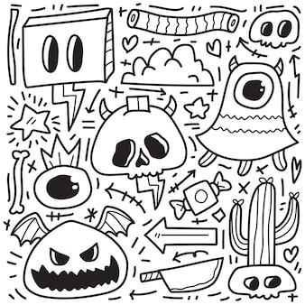 手描きハロウィン落書き漫画ぬりえデザイン