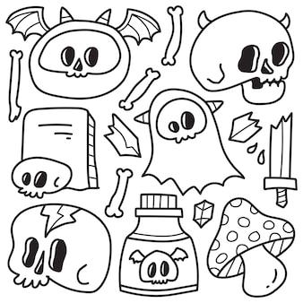 손으로 그린 할로윈 낙서 만화 색칠 디자인