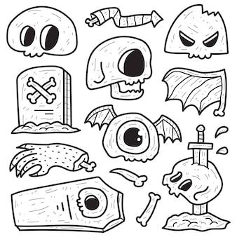 Hand drawn halloween doodle cartoon coloring design