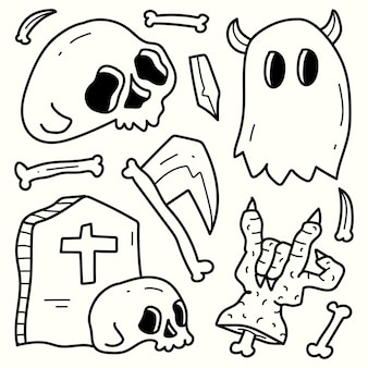 손으로 그린 할로윈 낙서 만화 그림 색칠 디자인