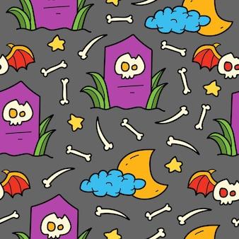 Hand drawn halloween doodle cartoon illustration pattern design
