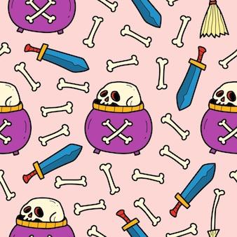 손으로 그린 할로윈 낙서 만화 패턴 디자인