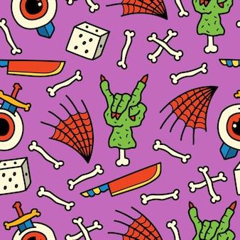 Hand drawn halloween doodle cartoon pattern design