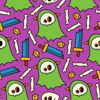 Ручной обращается хэллоуин каракули мультфильм бесшовные модели дизайна