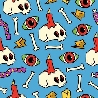 Ручной обращается хэллоуин каракули мультфильм бесшовный фон дизайн