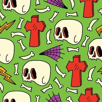 Hand drawn halloween doodle cartoon seamless pattern design