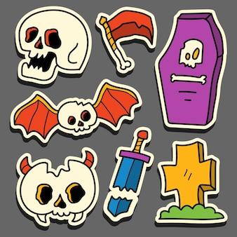 Ручной обращается хэллоуин каракули мультяшный дизайн наклейки